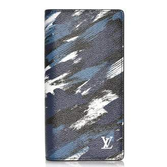 Louis Vuitton Wallet Brazza Camouflage Brushstroke Printed Bleu/White