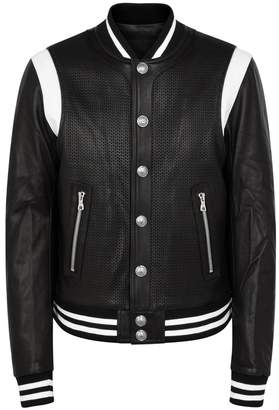Balmain Monochrome Leather Bomber Jacket