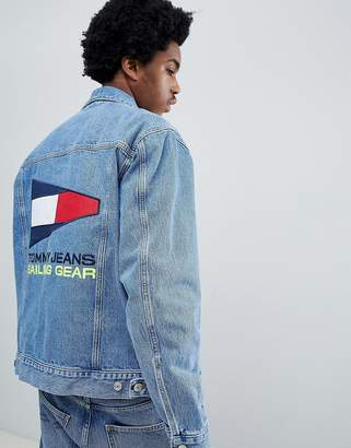 Tommy Jeans 90s Sailing Capsule Denim Jacket with Back Flag Logo in Mid Wash