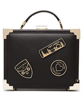 Aspinal of London Mini Leather Trunk Bag With Patches