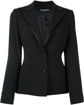 Dolce & Gabbana satin trim peaked lapel blazer