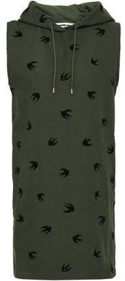 McQ Flocked French Cotton-terry Hooded Mini Dress