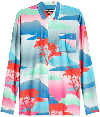 Double Rainbouu Long Sleeved Hawaiian Shirt