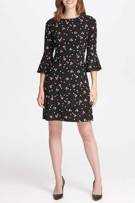 Iconic American Designer Patterned 3\u002F4 Sleeve Dress