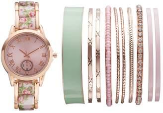 Kohl's Women's Floral Watch & Bangle Bracelet Set