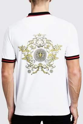 boohoo Polo T-Shirt With Baroque Back Print