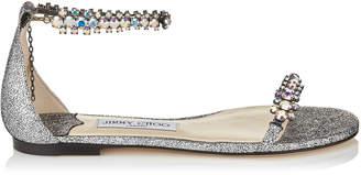 Jimmy Choo SHILOH FLAT Multi Hologram Leather Flat Open Toe Sandal with Jewel Trim