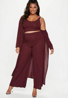 Missguided Plus Size Burgundy Ribbed Longline Cardigan