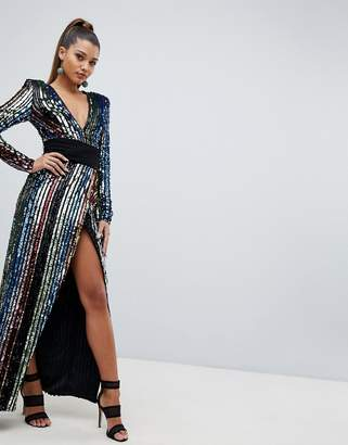 Club L rainbow sequin wrap front maxi dress