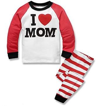 Dizoony Boys Pajamas I Love Dad Stripe Long Sleeve Girls T-Shirt Sleepwear