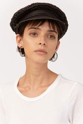 Lola Hats Raffia Chauffeur Black