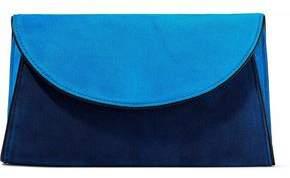 Diane von Furstenberg Suede-Paneled Leather Envelope Clutch