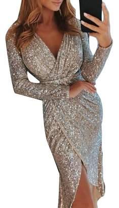 ouxiuli Women s Deep V Neck Long Sleeve Sparkling Split Cocktail Party Dress  L 83bace920