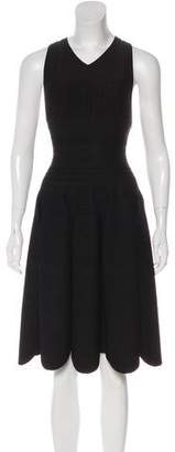 Alaia Ruffle-Accented Knee-Length Dress