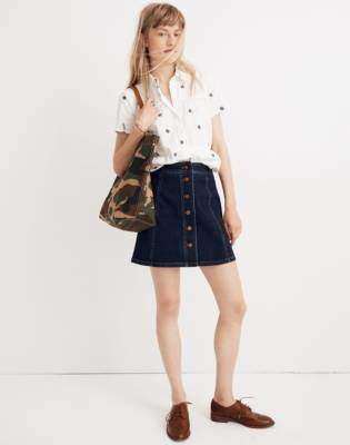 Madewell Stretch Denim A-Line Mini Skirt: Button-Front Edition