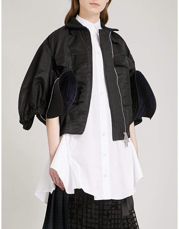 Cropped satin bomber jacket
