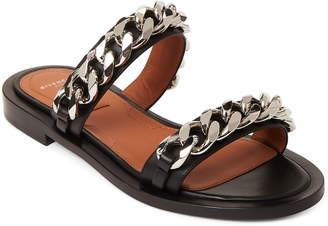 Givenchy Black & Silver-Tone Chain Slide Sandals