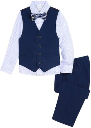 Van Heusen Toddler Boy 4 Pc Vest, Patterned Shirt, Pants & Bow Tie Set