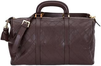 One Kings Lane Vintage Chanel Brown Diamond Quilted Duffel Bag - Vintage Lux