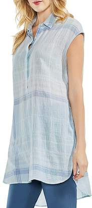 Vince Camuto Crinkled Plaid Tunic Top