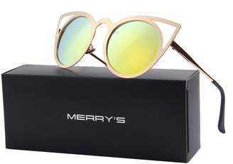 Cat Eye MERRY'S Sunglasses Round Metal Cut-Out Flash Mirror Lens Sun glasses S8064