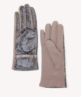 Sole Society Faux Snake Skin Gloves w/ Ribbon