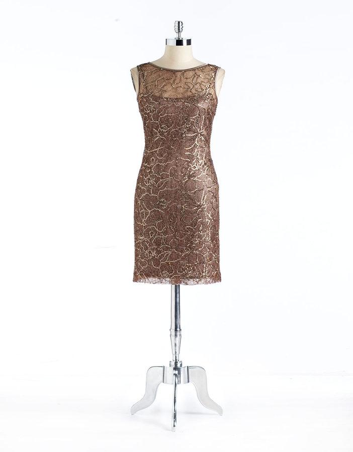 TERI JON Metallic Sequin Lace Dress