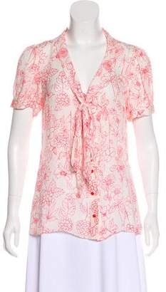 Milly Printed Silk Button-Up Top