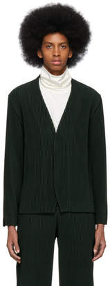 Issey Miyake Homme Plisse Green Pleated Cardigan