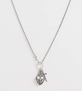 Reclaimed Vintage inspired cluster neckchain with mystic charms in silver exclusive to ASOS