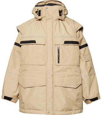Balenciaga Oversized Convertible Shell and Virgin Wool Hooded Parka - Sand