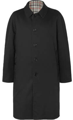Burberry Reversible Checked Wool and Gabardine Coat - Black