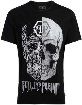 Philipp Plein Black Cut Black T-shirt With Skull And Crystals