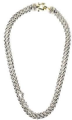 David Yurman Garnet Cable Buckle Wheat Chain Double Strand Necklace
