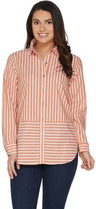 Joan Rivers Classics Collection Joan Rivers Long Sleeve Striped Button Front Shirt