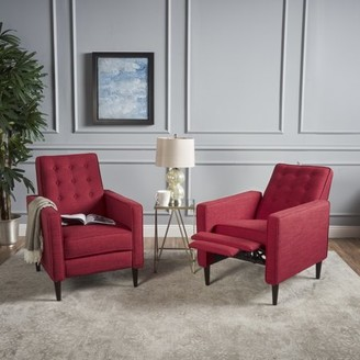 Noble House Melvin Mid Century Modern Fabric Recliner,Red