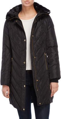 MICHAEL Michael Kors Faux Fur Collar Quilted Down Jacket