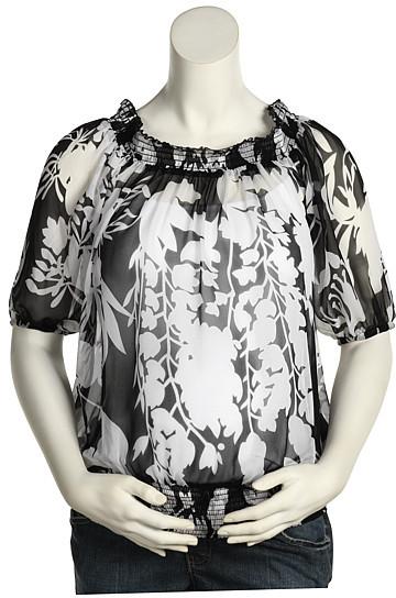 Olian Maternity Print Silk Top (Black/White)