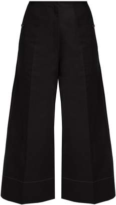 Lemaire Cotton and linen-blend wide-leg cropped trousers