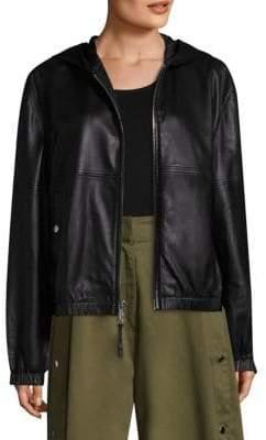 Public School Kris Hooded Leather Jacket