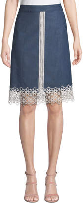 Karl Lagerfeld Paris Lace-Trimmed Denim Skirt