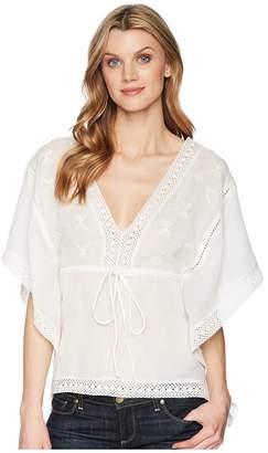Roper 1627 White Cotton V-Neck Blouse Women's Clothing