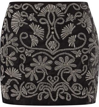 Alice + Olivia - Elana Embellished Velvet Mini Skirt - Black $475 thestylecure.com