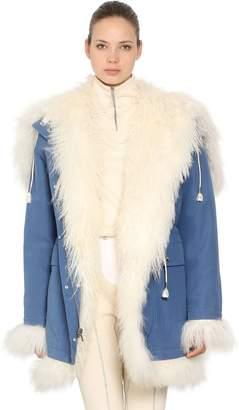 Calvin Klein Reversible Fur & Cotton Canvas Coat