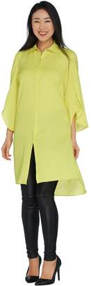 Halston H By H by Long Sleeve Button Front Tunic with Side Slits