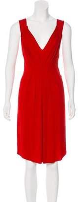 Fendi V-Neck Pleated Dress