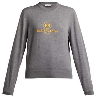 Balenciaga Logo Embroidered Virgin Wool Sweater - Womens - Grey Multi
