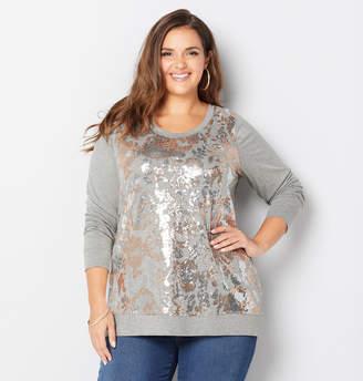 Avenue Sequin Floral Sweatshirt