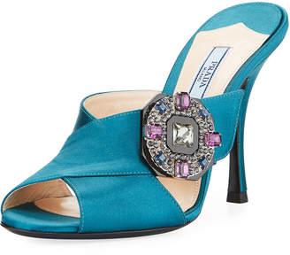 Prada Jeweled Satin 100mm Slide Sandals