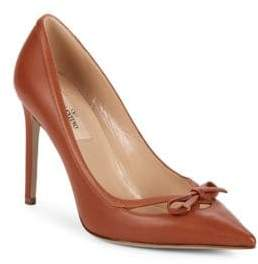 Valentino Point-Toe Leather Stiletto Pumps